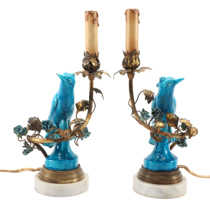 French Candlestick Lamps with Ormolu Mounted Porcelain Bird Figurines