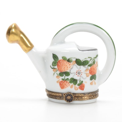 La Gloriette Hand-Painted Porcelain Strawberry Garden Watering Can Limoges Box