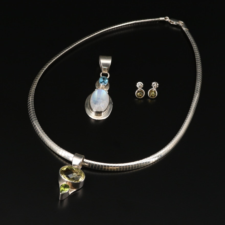 Sterling Silver Jewelry Selection Featuring Rainbow Moonstone and Amber