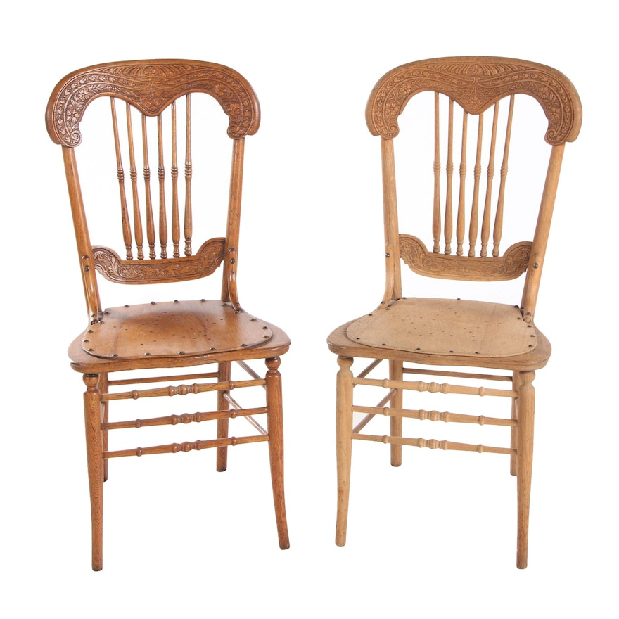 Pair of Victorian Pressed-Back Oak Side Chairs