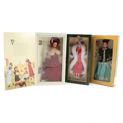 Barbie Victorian Elegance, Holiday Voyage and Yuletide Romance Dolls