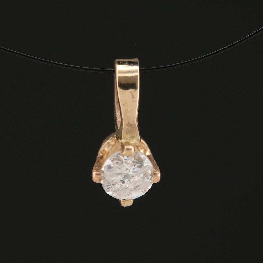 14K Gold 0.16 CT Diamond Solitaire Pendant
