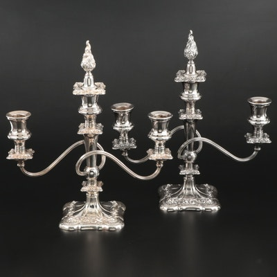 Pair of Silver Plate Scrolled Candelabra with Flame Finials