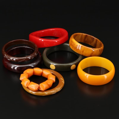 Collection of Bakelite Bangles and Expandable Bracelets