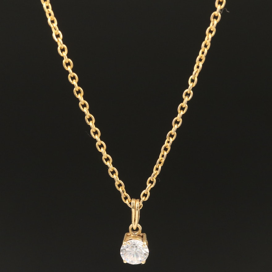 14K Cubic Zirconia Solitaire Pendant and Cable Link Chain Necklace