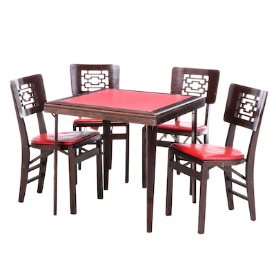 Stakmore Birch and Red Vinyl Folding Card Table Set, Mid-20th Century