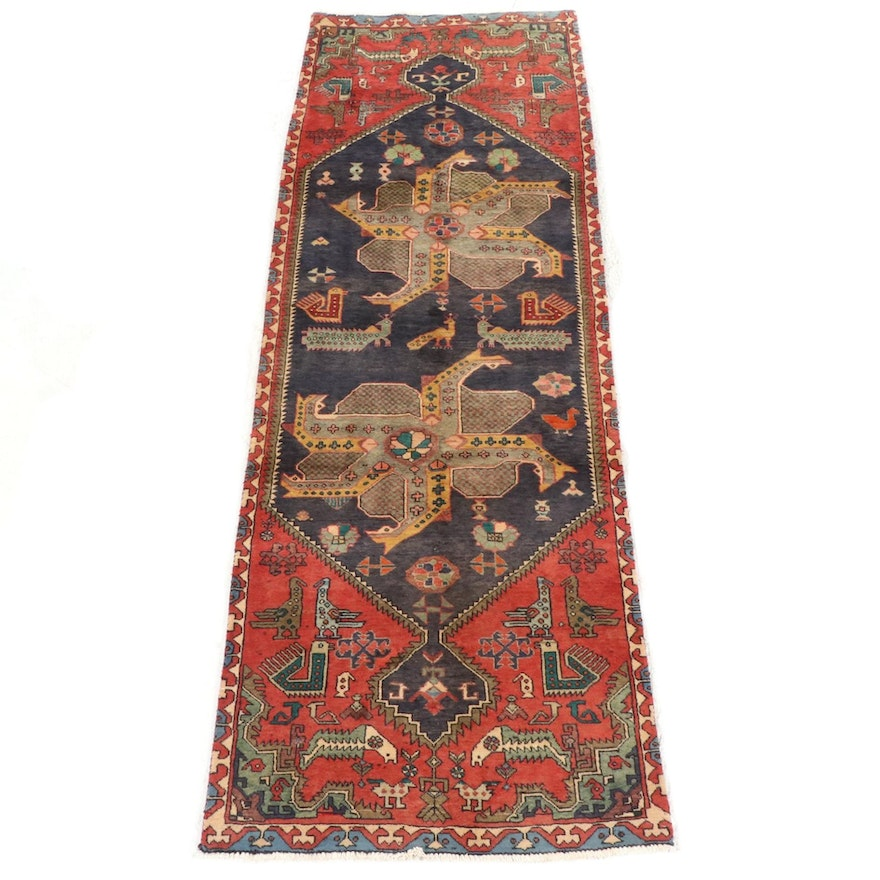 3'5 x 10'1 Hand-Knotted Persian Hamadan Wide Runner Rug