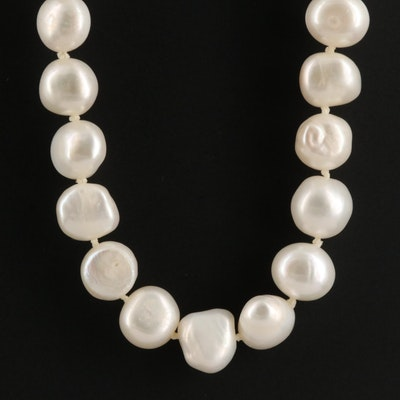 14K Single Strand Knotted Pearl Necklace