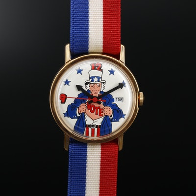 Patriotic Uncle Sam Vote Stem Wind Wristwatch