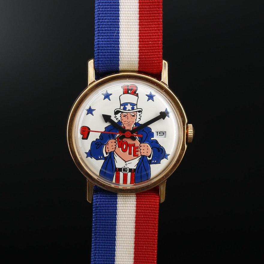 Patriotic Uncle Sam Vote Stem Wind Wristwatch