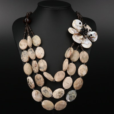 Sterling Silver Jasper, Shell, and Smoky Quartz Necklace