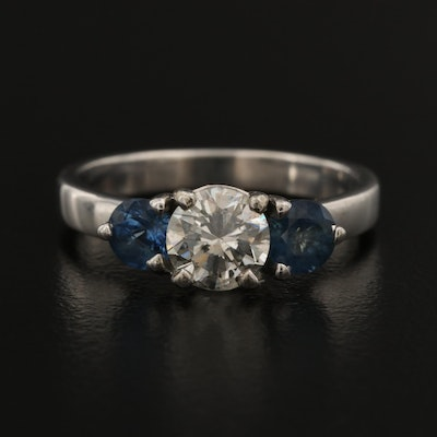 14K 0.92 CT Diamond and Sapphire Ring