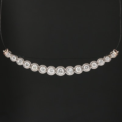 14K Diamond Graduated Bezel Pendant
