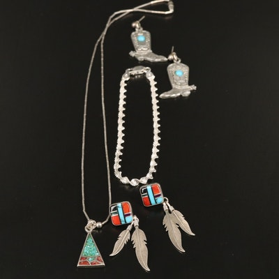 Sterling Silver Jewelry Featuring Turquoise and Western Style