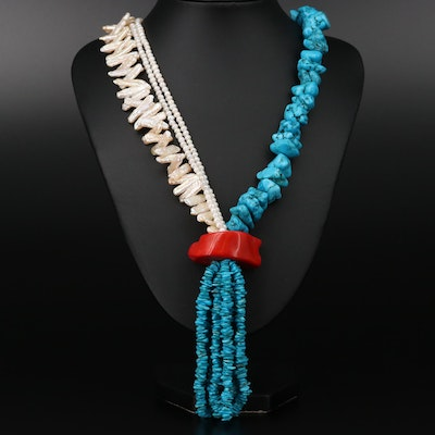 Sterling Silver Coral, Howlite, and Cultured Pearl Necklace