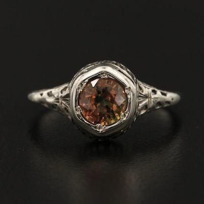Edwardian 14K Orange Sapphire Ring