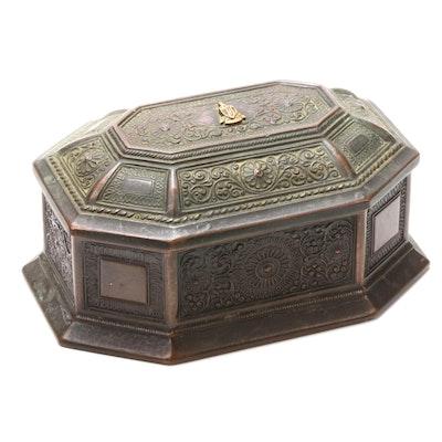 Jennings Brothers Art Nouveau Style Bronze Hinged  Box