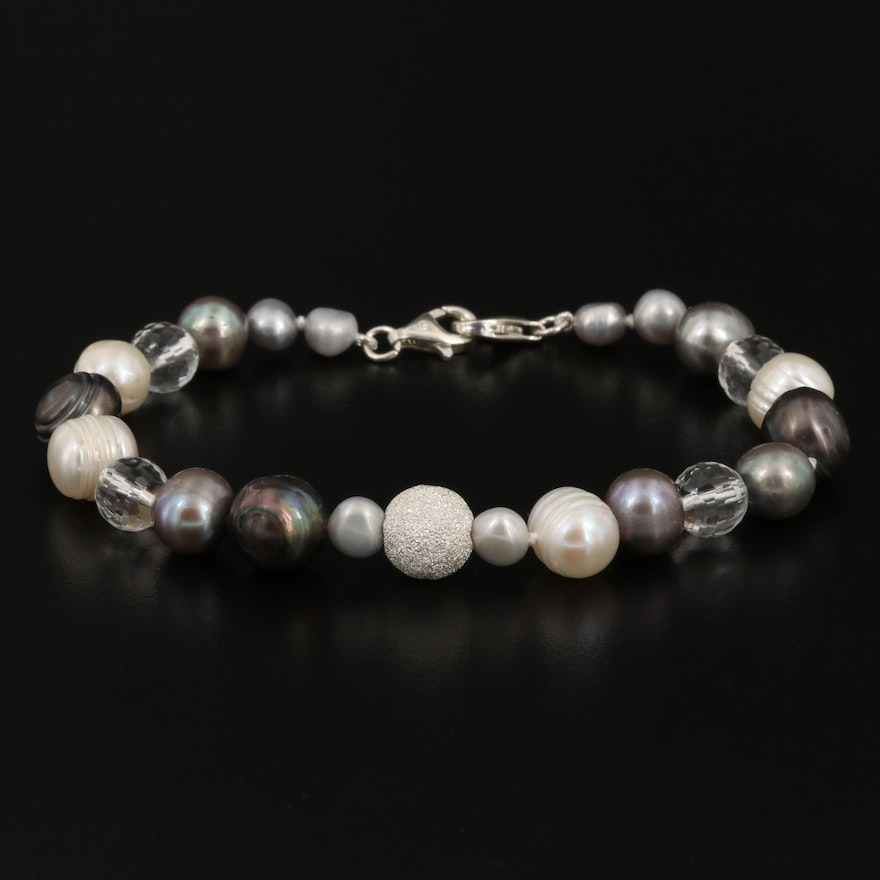 Cultured Pearl and Beaded Rock Quartz Bracelet With Sterling Silver Clasps