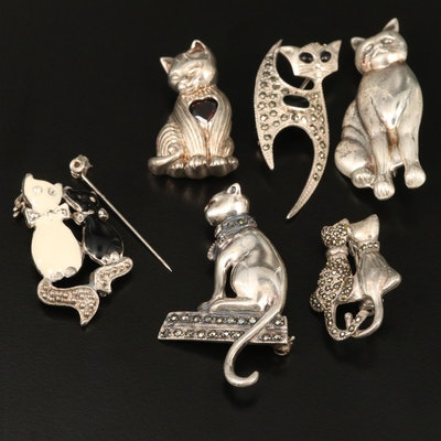 Sterling Silver Cat Themed Brooches Including Garnet