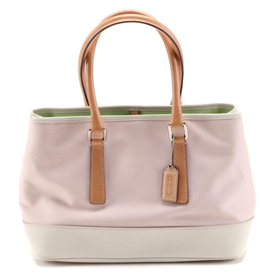 Coach Hampton Tote Bag in Pale Pink Canvas with Leather Trim