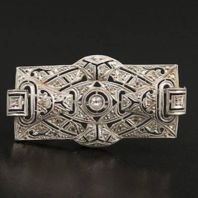 Early Art Deco Platinum 0.25 CTW Diamond Brooch