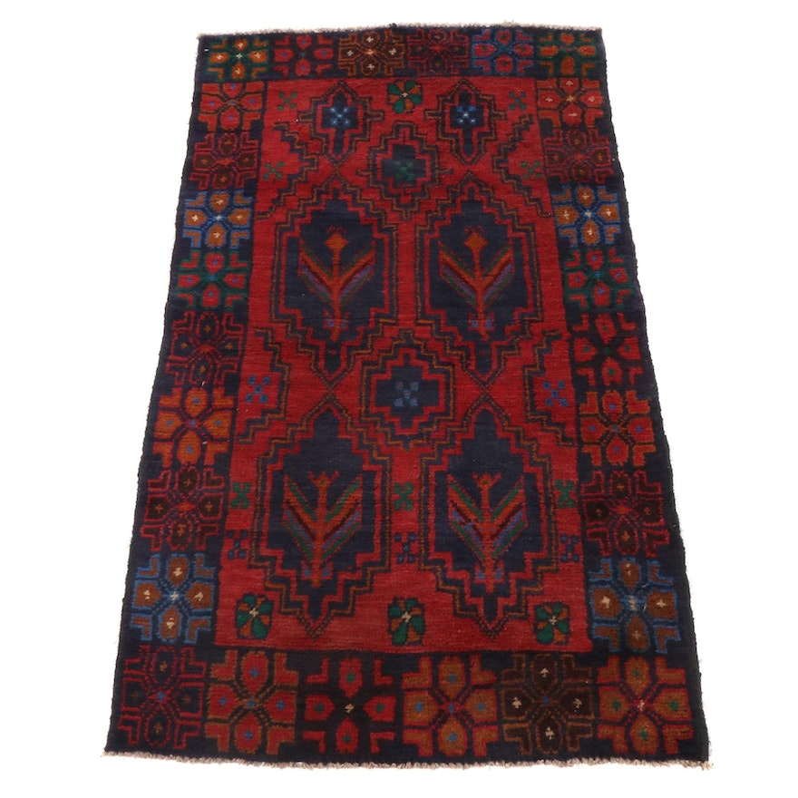 2'10 x 4'10 Hand-Knotted Afghani Tribal Baluch Rug