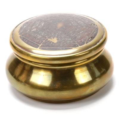 Victorian Brass and Wood-Inlaid Spiderweb Motif Trinket Box, Early 20th Century