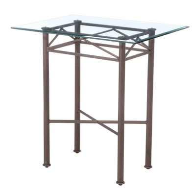 Contemporary Metal and Glass Top Pub Table