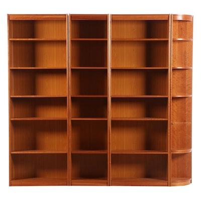 Danish Four-Unit Cherry Veneered Bookcases, Late 20th Century