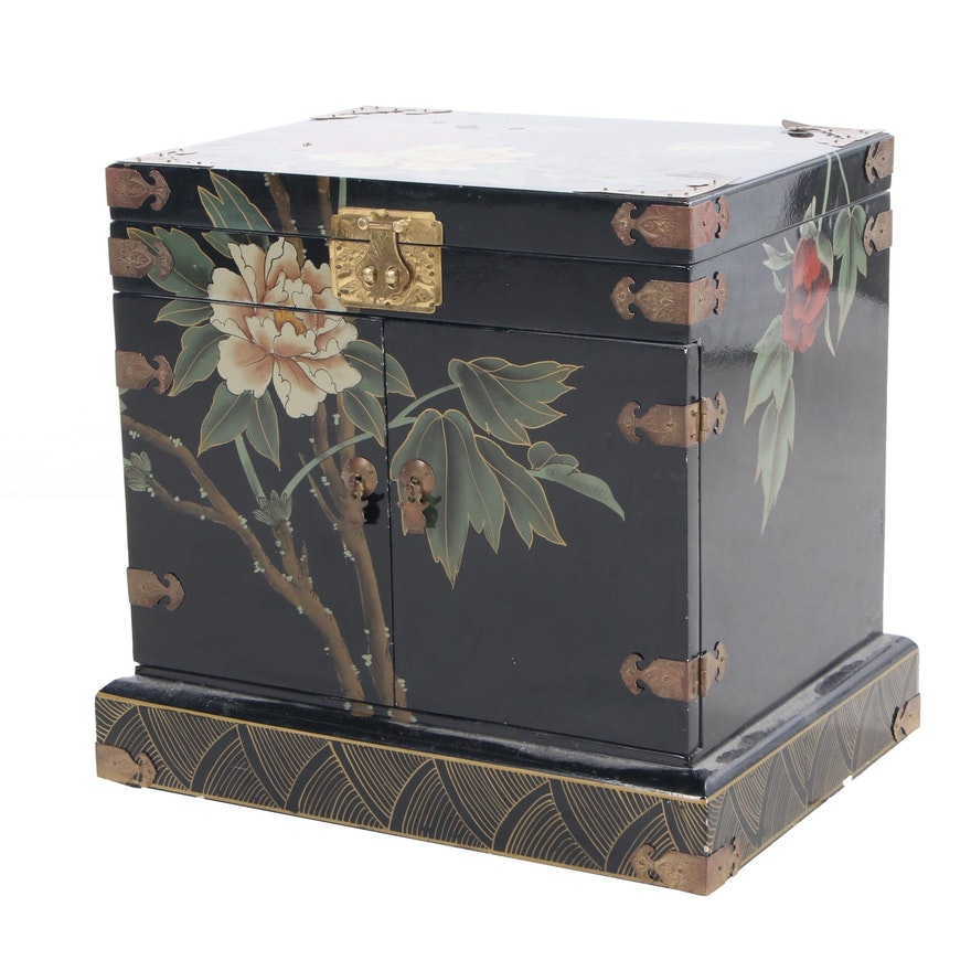 Chinese Style Lacquer and Painted Jewelry Chest