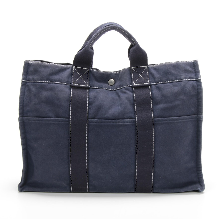 Hermès Paris Fourre Tout MM Navy Blue Canvas Tote with Contrast Stitching