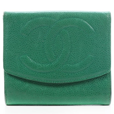 Chanel CC Bifold Wallet in Green Caviar Leather