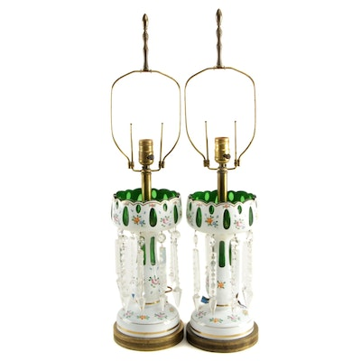 Pair of Bohemian White Cut to Green Glass Converted Mantel Lusters