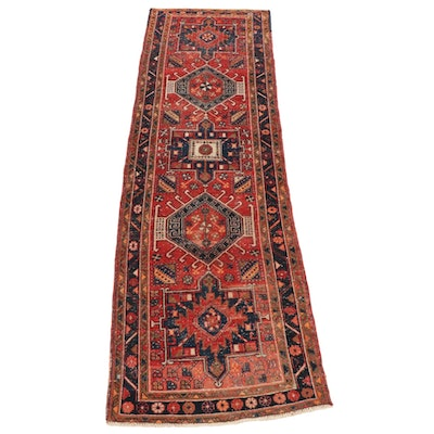 3'3 x 10'9 Hand-Knotted Persian Heriz Wide Runner Rug, Mid to Late 20th Century