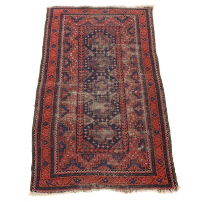 2'8 x 4'6 Antique Hand-Knotted Afghani Baluch Rug