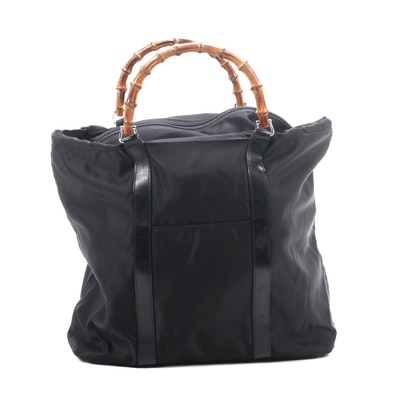 Gucci Bamboo Handle Tote in Black Nylon and Leather