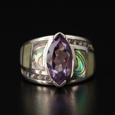 Sterling Silver Ring with Amethyst, Abalone and Topaz