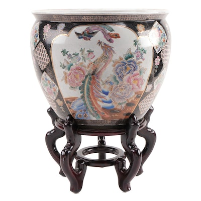 Chinese Hand-Painted Ceramic Decorative Fish Bowl Planter with Stand
