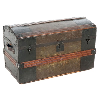 Victorian Wood and Metal Dome Top Steamer Trunk