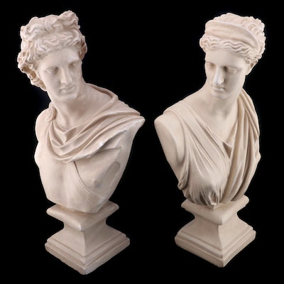 Cast Plaster Apollo and Athena Busts