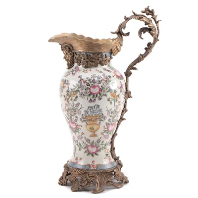 Wong Lee Rococo Style Brass-Mounted Porcelain Pitcher