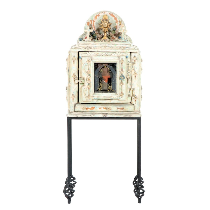 Religious Motif Cabinet, Mid-20th Century and Altered