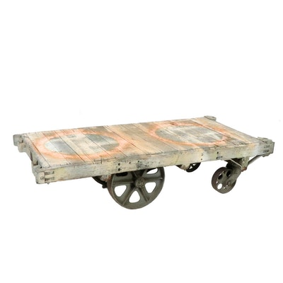 Wooden Flatbed Cart, 20th Century