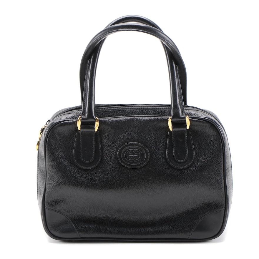 Gucci Black Grained Leather Top Handle Bag, Vintage