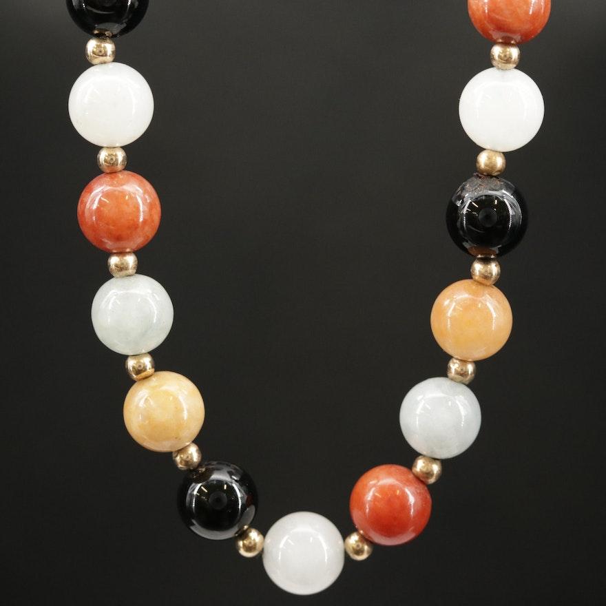 14K Beaded Jadeite and Black Onyx Necklace