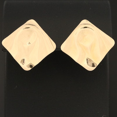 14K Earrings With Ruffled Square Design