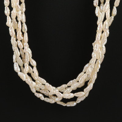 Rice Pearl Torsade Necklace with 18K Gold Clasp