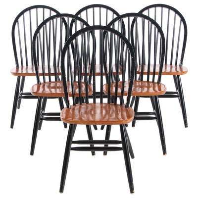 Six Black and Natural Bow-Back Windsor Dining Chairs