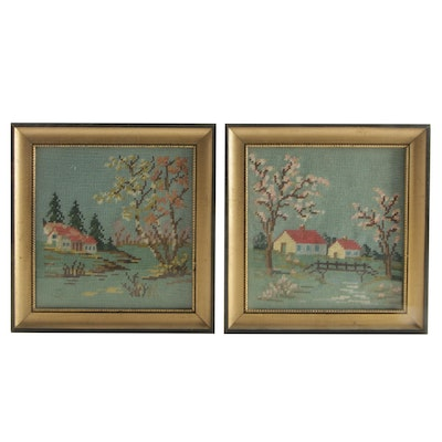 Latch-Hooked Framed Textile Art of Country Home Scenes, Mid to Late 20th Century