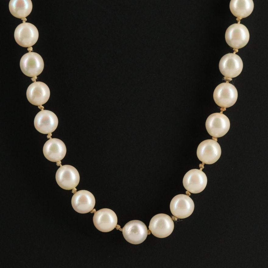 Knotted Pearl Necklace with 14K Gold Clasp
